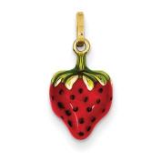 14k Enamelled Puffed Strawberry Charm - Measures 15x9mm - JewelryWeb