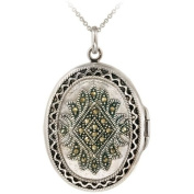 Locket. Oval Sterling Silver Jewellery Picture Photo Lockets with Marcasite Stones. A Nice 46cm Necklace Pendant. Enjoy a Photo Jewellery Charm for Years. Keep the Picture That Means the Most Close to You with Picture Necklace Lockets From Glitzy Rocks.