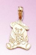 Gold Animal Charm Pendant Teddy Bear Dressed Up