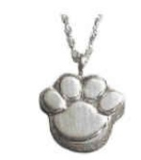 Paw Print Sterling Silver Memorial Keepsake Cremation Pendant Sterling Silver Includes Chain.
