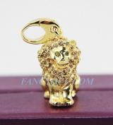 Judith Leiber Lion Leo Charm. New 24k Gold Plated Original Box