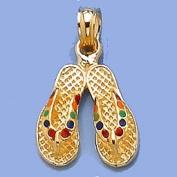 14k Gold Beach Necklace Charm Pendant, Double Flip Flop Sandal With Multi-colour