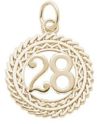 Rembrandt Charms Number 28 Charm, 10K Yellow Gold