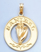 14k Gold Travel Necklace Charm Pendant, Sanibel On Round Frame, Conch Shell Cent