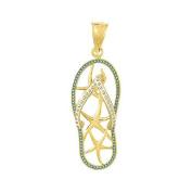 14k Gold Beach Necklace Charm Pendant, Multi Starfish Sea Star Flip Flop Sandal