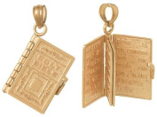 Charm Rose Gold 3d Holy Bible Book With Lord's Prayer