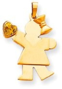 Girl with Bow and Birthstone Heart Charm, Yellow Gold