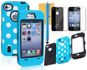 OMIU(TM) Colourful Hybrid Silicone With Dot Case Cover Protector For iPhone 4 4S(Blue with Black), With Screen Protector, Stylus and Cleaning Cloth