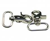 Generic Metal Silvery 2.5cm Inside Width Lobster Clasps Buckle Hook Key Ring Chain For Handbag Or Luggage