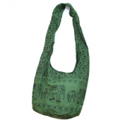 Hippie Elephant Sling Crossbody Bag Shoulder Bag Purse Thai Top Zip Handmade New Colour Green