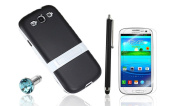 OMIU(TM) Slim TPU Back Case with Flip-Out Kickstand for Samsung Galaxy S3 i9300, with Stylus, Screen Protector and Earphone Jack
