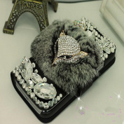 EVTECH(TM) Luxury Crystal Diamond Bling Charming Plush Design PU Leather Wallet Cover Case for Samsung Galaxy S4 9500 9505 M919