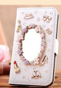 EVTECH(TM) Handmade Luxury 3D Mirror & Fashion Accessories Diamond Crystal Bling PU Leather Wallet Case Cover for Samsung Galaxy S IV S4 GS4 4 with Stand and Card Holder Function