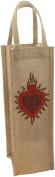 HomArt Jute 1 Bottle Wine Tote, Sacred Heart
