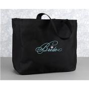 Bride Tote Bag, Black with Aqua Thread