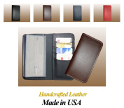 100 & Thick Cowhide Leather Standard Chequebook Cover, Brown - Made in USA