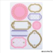 Japanese Washi Masking Sticker Sheet- Flourish Labels - 1 Sheet 8 pcs