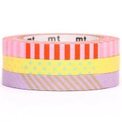 slim pink yellow lilac mt Washi Masking Tape deco tape 3pcs