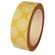 Dress My Cupcake DMC41WT575 Washi Decorative Tape for Gifts and Favours, Yellow Floral Circles