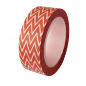 Dress My Cupcake DMC41WT574 Washi Decorative Tape for Gifts and Favours, Coral Orange Chevron