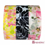 Wrapables Flowery Japanese Washi Masking Tape (set of 3), 6-10M L x 15mm W