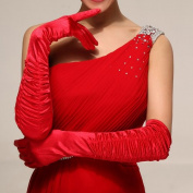 CIMC LLC Women's Satin Elbow Opera Bridal Drape Gloves-Red