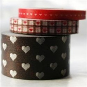 Japanese Washi Masking Tape Set of 3 - Assorted Hearts Brown