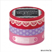 Japanese Washi Masking Tape Set of 3 - Editions de Paris Fuchsia Pink