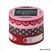 Japanese Washi Masking Tape Set of 3 - Editions de Paris Pink