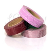 Japanese Washi Masking Tape Set of 3 - Mark's Basics Plum