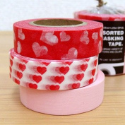 Japanese Washi Masking Tape Set of 3 - Red Assorted Hearts Solid