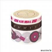Japanese Washi Masking Tape Set of 3 - Scrapaholic Postal Pink