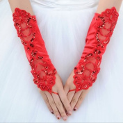 CIMC LLC Women's Fingerless Opera Lace Satin Gloves with Floral Pattern and Sequin-Red