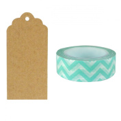 Allydrew 50 Scalloped Gift Tags/Kraft Hang Tags with Free Cut Strings & Washi Tape for Gifts, Crafts & Price Tags - Aqua Chevron