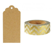 Allydrew 50 Scalloped Gift Tags/Kraft Hang Tags with Free Cut Strings & Washi Tape for Gifts, Crafts & Price Tags