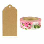 Allydrew 50 Scalloped Gift Tags/Kraft Hang Tags with Free Cut Strings & Washi Tape for Gifts, Crafts & Price Tags - Pink Flower Garden