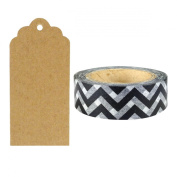 Allydrew 50 Scalloped Gift Tags/Kraft Hang Tags with Free Cut Strings & Washi Tape for Gifts, Crafts & Price Tags - Black Chevron