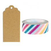 Allydrew 50 Scalloped Gift Tags/Kraft Hang Tags with Free Cut Strings & Washi Tape for Gifts, Crafts & Price Tags - Colour Stripe