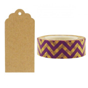 Allydrew 50 Scalloped Gift Tags/Kraft Hang Tags with Free Cut Strings & Washi Tape for Gifts, Crafts & Price Tags - Purple & Gold Chevron
