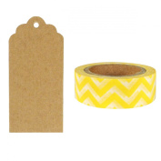 Allydrew 50 Scalloped Gift Tags/Kraft Hang Tags with Free Cut Strings & Washi Tape for Gifts, Crafts & Price Tags - Yellow Chevron