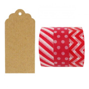 Allydrew 50 Scalloped Gift Tags/Kraft Hang Tags with Free Cut Strings & Set of 3 Washi Tape for Gifts, Crafts & Price Tags - Ravishing Red