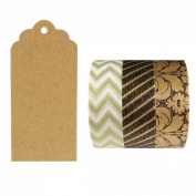 Allydrew 50 Scalloped Gift Tags/Kraft Hang Tags with Free Cut Strings & Set of 3 Washi Tape for Gifts, Crafts & Price Tags - Majestic