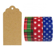 Allydrew 50 Scalloped Gift Tags/Kraft Hang Tags with Free Cut Strings & Set of 3 Washi Tape for Gifts, Crafts & Price Tags - Americano Japanese