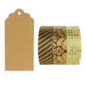 Allydrew 50 Scalloped Gift Tags/Kraft Hang Tags with Free Cut Strings & Set of 3 Washi Tape for Gifts, Crafts & Price Tags - Imperial Gold
