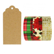 Allydrew 50 Scalloped Gift Tags/Kraft Hang Tags with Free Cut Strings & Set of 3 Washi Tape for Gifts, Crafts & Price Tags - Tis The Season