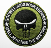The Punisher Movie GOD Will Patches 7.5x7.5 Cm Iron on Patch / Embroidered Patch This Appliques Are Great for T-shirt, Hat, Jean ,Jacket, Backpacks.