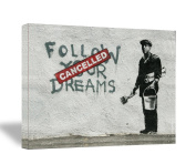 "Banksy "" Follow Your Dreams ""46cm x 60cm Gallery Wrapped Canvas"