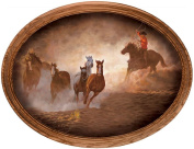 Evening Round Up Horses by Chris Cummings Oval Canvas Framed Print Open Edition