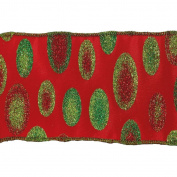 Vickerman 78070cm - 6.4cm x 10yd Red / Green Dots Ribbon