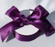 3.8cm x 25 Yards Eggplant Purple Wired Double Face Satin Ribbon